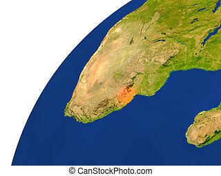 Country of Swaziland satellite view - Swaziland highlighted...