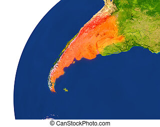 Country of Argentina satellite view - Argentina highlighted...