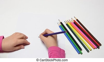 Girl draws pencil flower, cranking