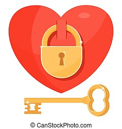 locked heart and key - Heart as the key to the lock. Sincere...