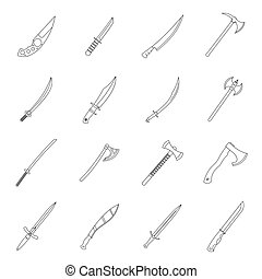 Steel arms symbols icons set, outline style