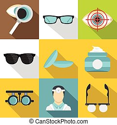 Eye exam icons set, flat style - Eye exam icons set. Flat...