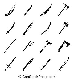 Steel arms symbols icons set, simple style