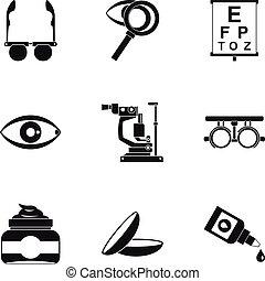 Eye exam icons set, simple style - Eye exam icons set....