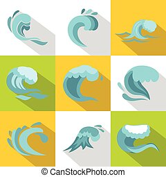 Ocean waves icons set, flat style
