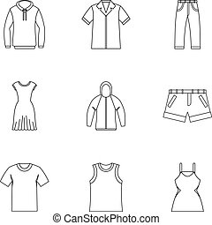 Kind of clothing icons set, outline style - Kind of clothing...
