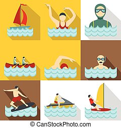 Water exercise icons set, flat style - Water exercise icons...