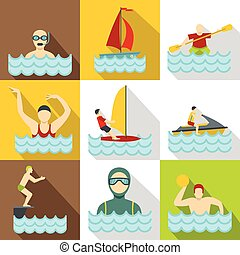 Water sport icons set, flat style - Water sport icons set....