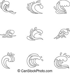 Ocean waves icons set, outline style