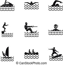 Water exercise icons set, simple style - Water exercise...