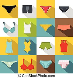 Underwear items icons set, flat style - Underwear items...