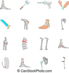 Orthopedic and spine icons set, cartoon style - Orthopedic...