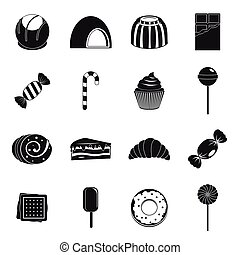 Sweets and candies icons set, simple style - Sweets and...