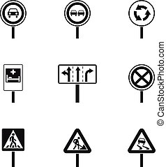 Traffic sign icons set, simple style - Traffic sign icons...