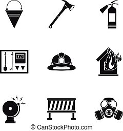Fire icons set, simple style