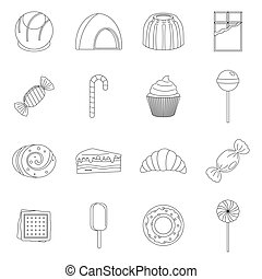 Sweets and candies icons set, outline style - Sweets and...
