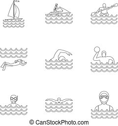 Water sport icons set, outline style - Water sport icons...