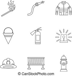 Fire icons set, outline style