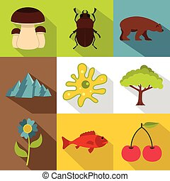 Flora and fauna icons set, flat style