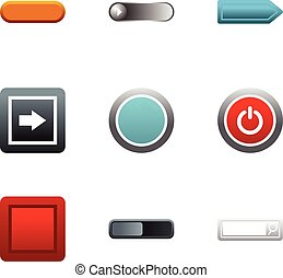 Internet buttons icons set, flat style - Internet buttons...