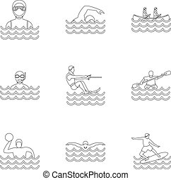 Water stay icons set, outline style - Water stay icons set....