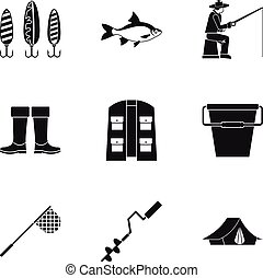 Fishing sport icons set, simple style