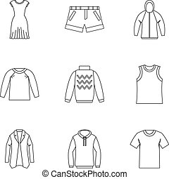 Underwear icons set, outline style - Underwear icons set....