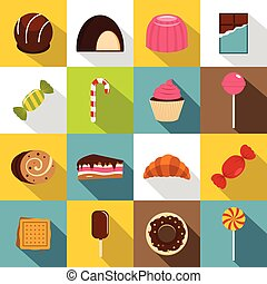 Sweets and candies icons set, flat style - Sweets and...