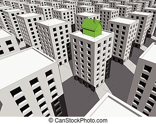 House on the top of block of flats - green ecological...