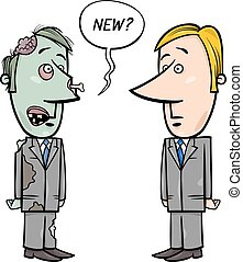 zombie businessman and new staff - Concept Cartoon...