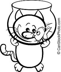 cat and fish coloring page - Black and White Cartoon...