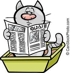 cat in litter box cartoon - Cartoon Illustration of Cat...