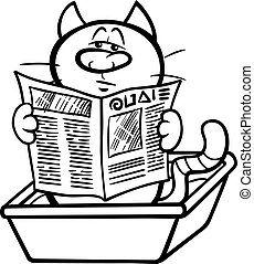 cat in litter box coloring page - Black and White Cartoon...