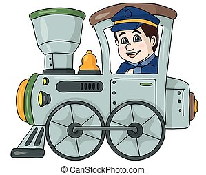 machinist - The machinist railwayman in a gray locomotive.