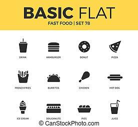 Basic set of fast food icons - Basic set of hamburger form,...
