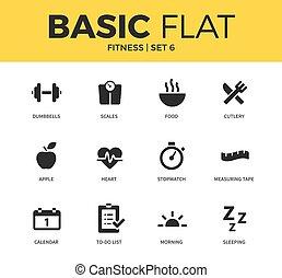 Basic set of Fitness icons - Basic set of apple, stopwatch...