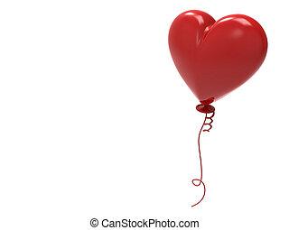 心,  balloon, 插圖, 紅色,  3D