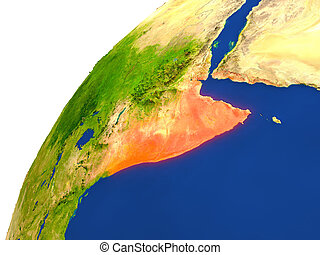 Country of Somalia satellite view - Somalia highlighted in...