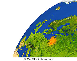 Country of Lithuania satellite view - Lithuania highlighted...