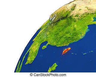 Country of Taiwan satellite view - Taiwan highlighted in red...