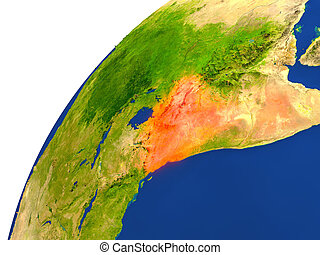 Country of Kenya satellite view - Kenya highlighted in red...