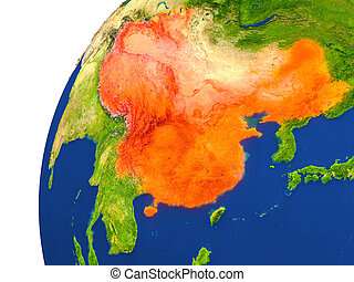 Country of China satellite view - China highlighted in red...