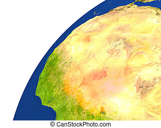 Country of Niger satellite view - Niger highlighted in red...