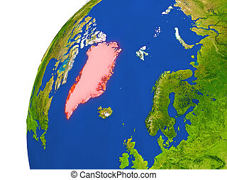 Country of Greenland satellite view - Greenland highlighted...