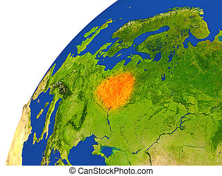Country of Belarus satellite view - Belarus highlighted in...