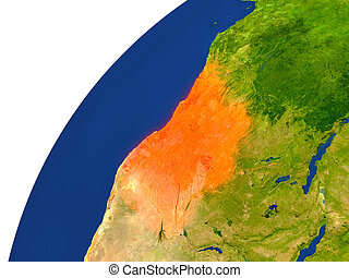 Country of Angola satellite view - Angola highlighted in red...
