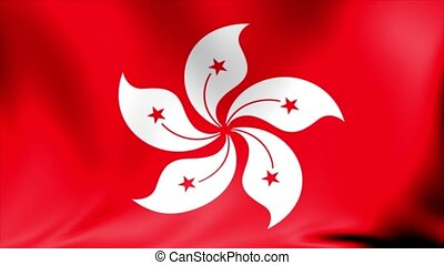 Hong Kong Flag. Background Seamless Looping Animation.