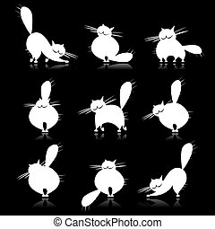 Funny white fat cats silhouettes for your design