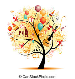 Happy celebration, funny tree with holiday symbols