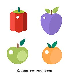 Fruits and vegetable food flat vector illustration. -...